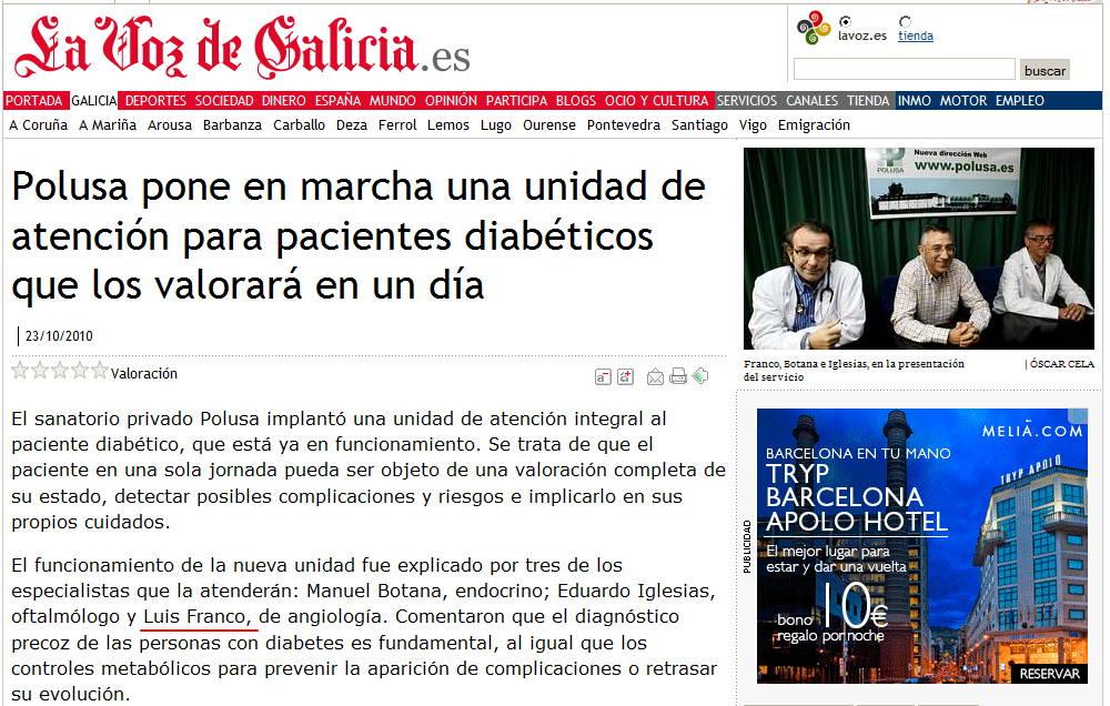 Se pone en marcha una unidad integral de atención al diabético en el Hospital Polusa